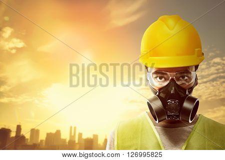 Asian People Wearing Yellow Helmet