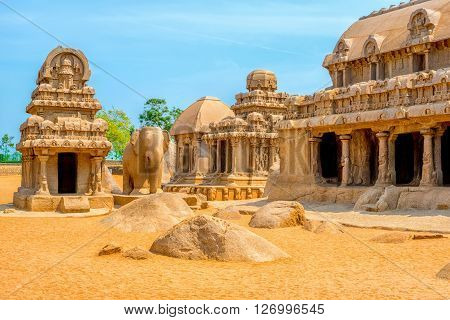 Ancient Hindu Monolithic Indian Sculptures Rock-cut Architecture Pancha Rathas - Five Rathas, Mahaba