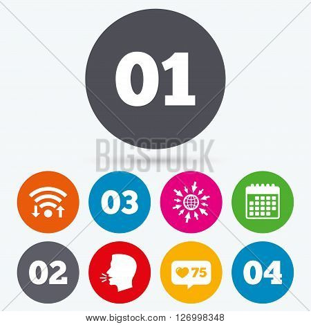 Wifi, like counter and calendar icons. Step one, two, three and four icons. Sequence of options symbols. Loading process signs. Human talk, go to web.