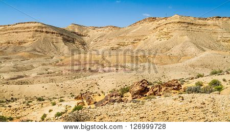 Landscape Makhtesh Gadol or Large Crater in Negev desert in the early spring, Israel