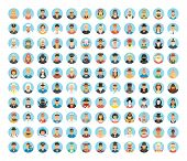 People avatar collection. Flat circle icons of people, occupations, works. People portraits, cartoon people, people lifestyles. Human role. People society. poster
