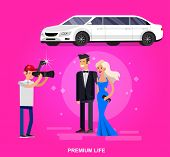 Vector detailed character rich and beautiful celebrities, man in tails and blond woman in evening dress, celebrities walking on a red carpet, celebrities with limousine poster
