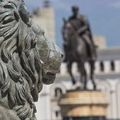 Lion statue in Skopje city in Macedonia poster