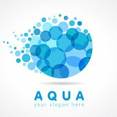 Water company logotype. Abstract emblem, droplet with bubbles element. Stained glass character clear trendy H2O graphic template. Drinking water, bubbly bunch Corporate healthcare branding identity. poster