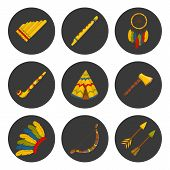 Vector cartoon indian icons: wigwam flute dreamcatcher axe. Native american tribal tradition with wigwam and dreamcatcher. Indian habit and wigwam lifestyle. Tribal dreamcatcher flure axe wigwam poster