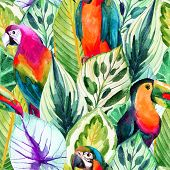 watercolor parrots seamless pattern on tropical leaves background. Hand painted illustration with different species of parrots and exotic leaves poster