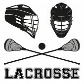 Lacrosse helmets and sticks and ball Flat and silhouette style Sport Equipment Front and Side View isolated on white background poster