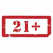 Vector illustration rectangle red under 21 twenty one stop sign. 21+ age restriction stamp poster