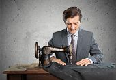 Tailor suit human hand concentrated craftsperson work tool textile industry poster