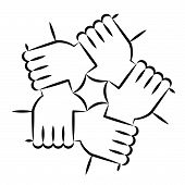 Solidarity Circle Line Art on White. Five Hands Holding Each Other Symbolizing Unity. poster