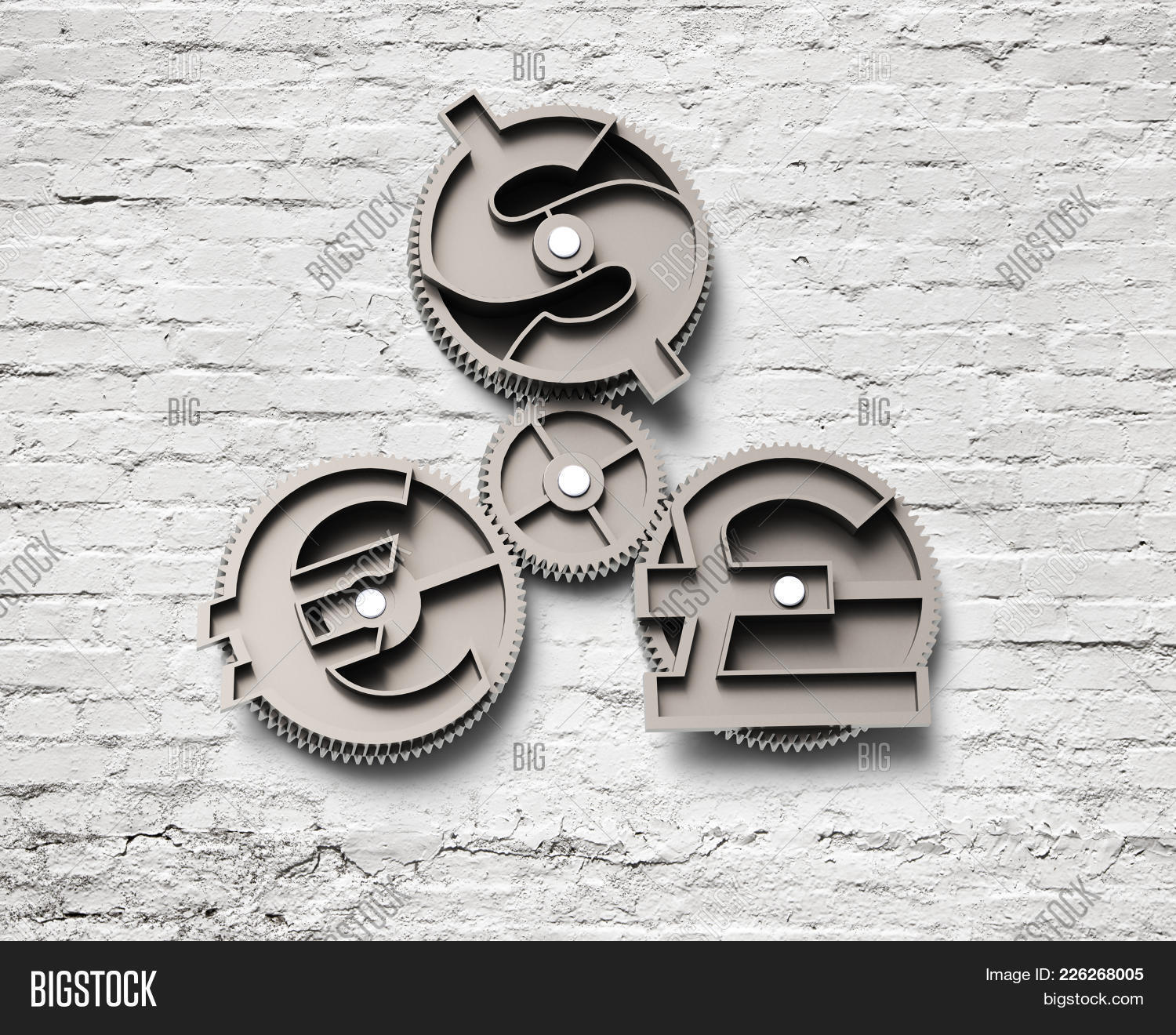 Gears Dollar Sign Pound Euro Image Photo Bigstock