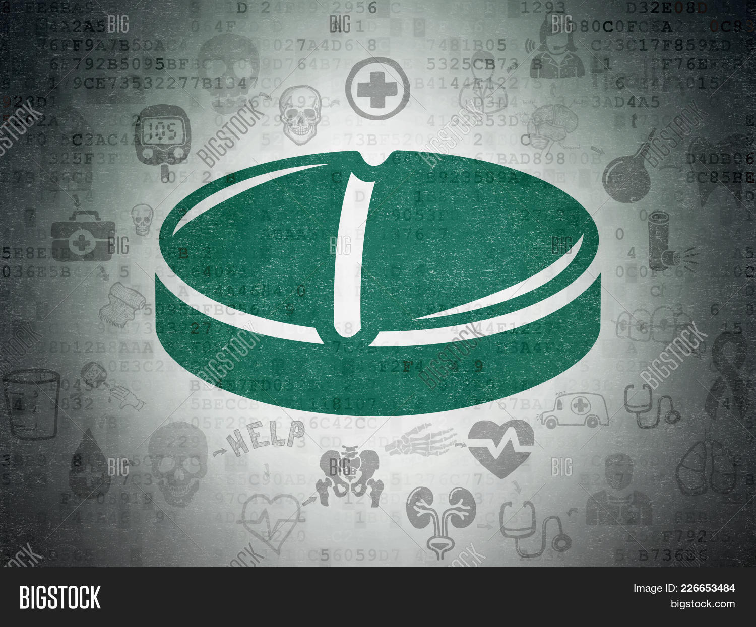 Painted Medicine Concept Green Pill Powerpoint Template Painted