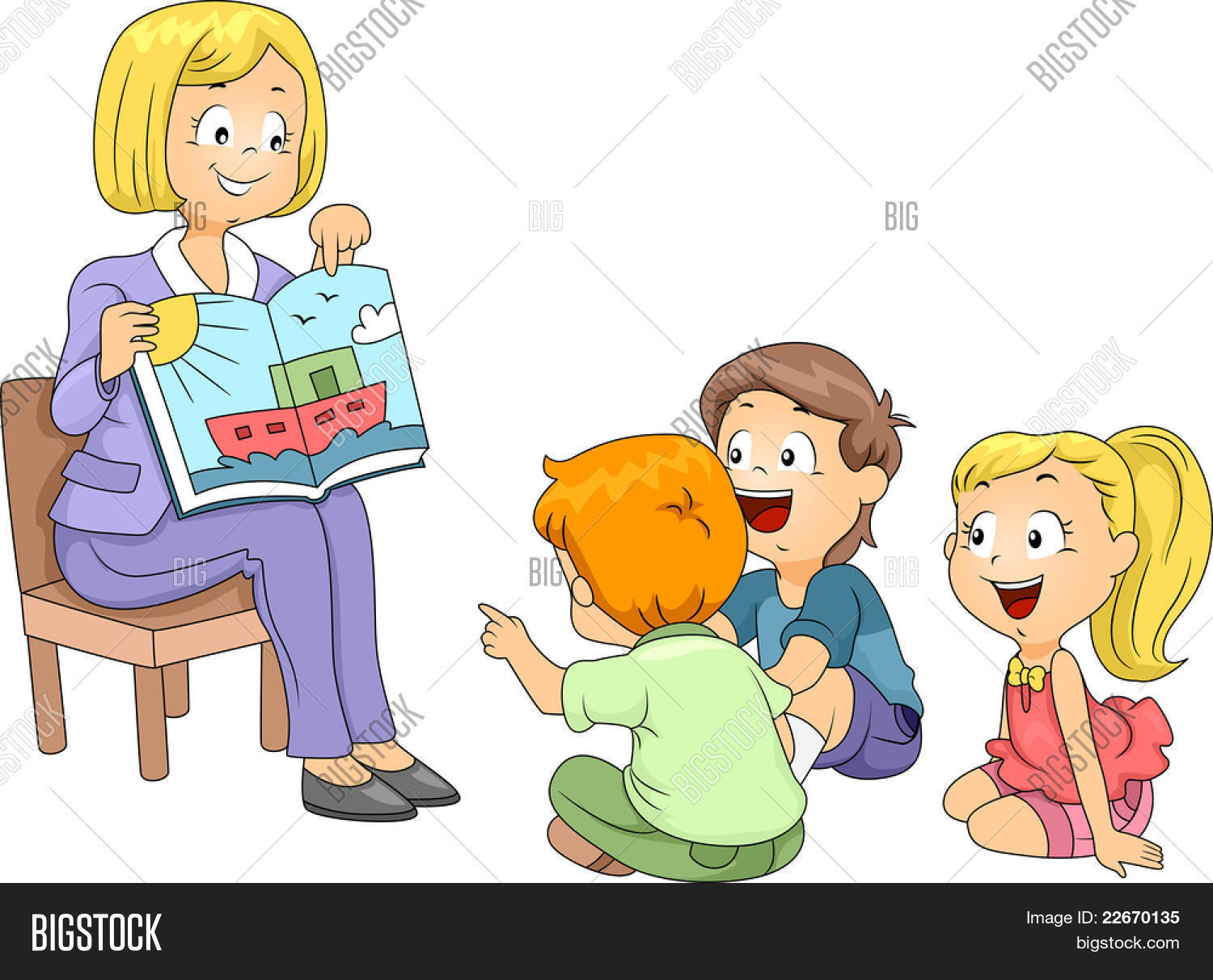 Stock Vector Illustration Of Kids Listening To A Story on Preschool Storytime