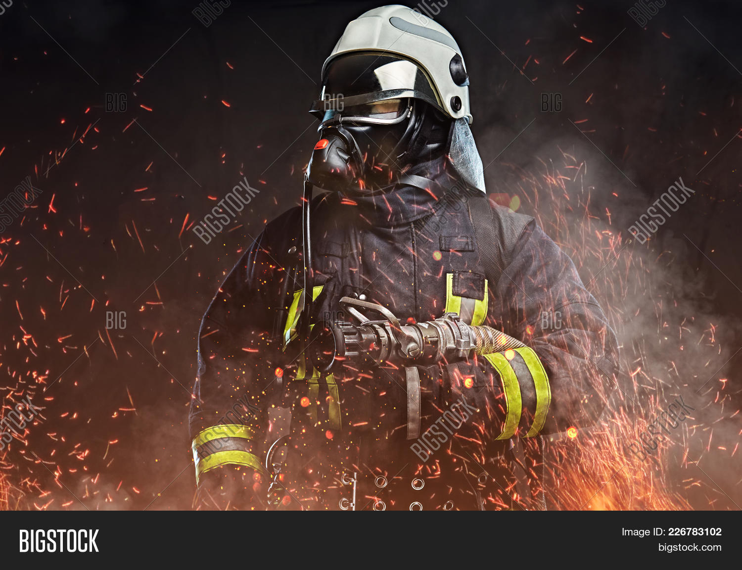dressed professional firefighter powerpoint template dressed
