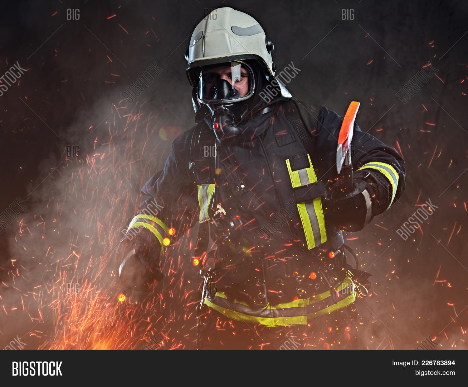 firefighter dressed powerpoint theme powerpoint template