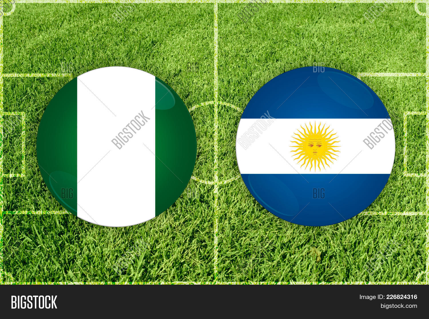 Match Illustration Football Nigeria Argentina Powerpoint Template