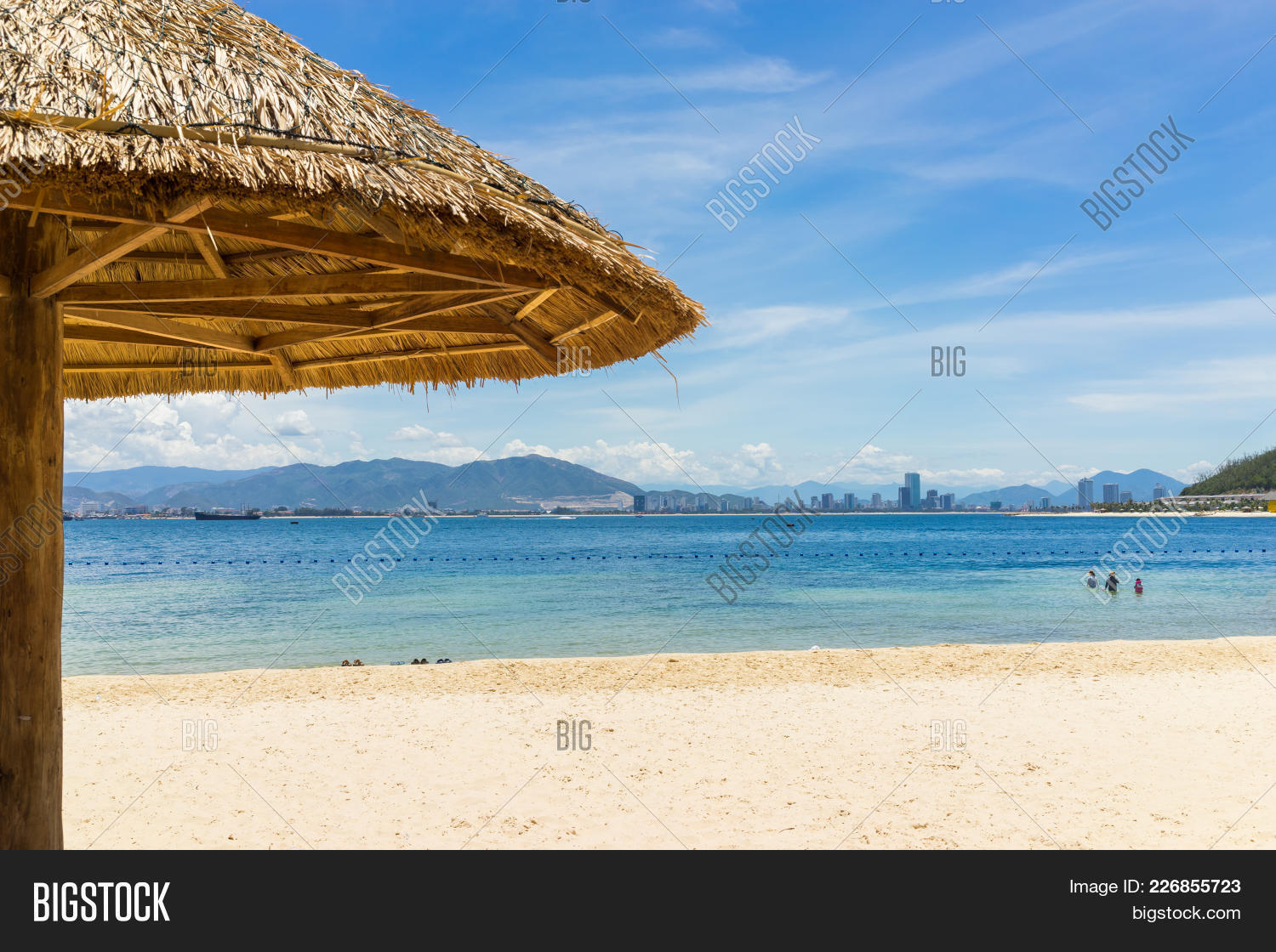 Beach and thatched powerpoint template beach and thatched your text maxwellsz