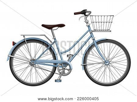 Bicycle With Luggage. Bike With A Boot In The Form Of Baskets. Cycle. Velocipede. Vector Illustratio