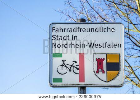 Moers , Germany - February 09 2018 : German Sign In Moers Kapellen Translation: Bicycle Friendly Cit