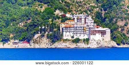 Panoramic View Of Old Monastery In Athos Mount, Halkidiki , Greece