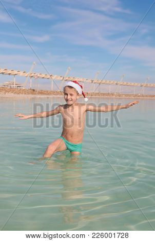 Happy Little Santa At The Dead Sea, Israel