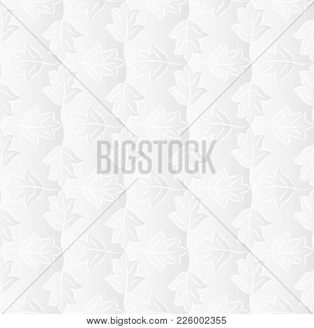 Neutral White Textured Background With 3d Effect. Vector Seamless Repeating Pattern Of Stylized Leav
