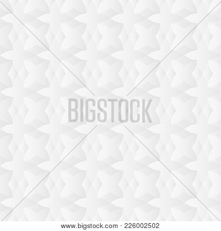 Neutral White Texture. Abstract Geometric Background With 3d Effect. Vector Seamless Repeating Patte
