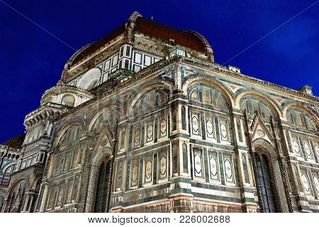 Fragment Of Cathedral Of Saint Mary Of The Flower At Night, Florence, Italy