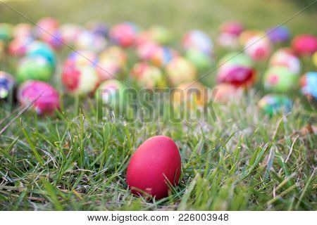 Red Easter Egg In A Grass - Lot Of Colorful Egs In Defocus