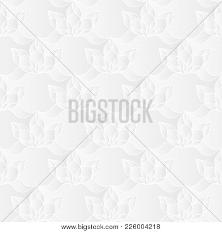Neutral White Floral Texture. Decorative Background With 3d Carving Effect. Vector Seamless Repeatin