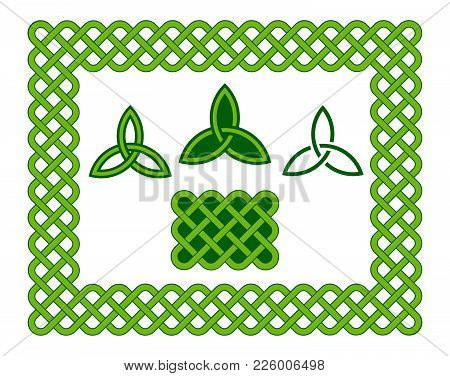 Green Celtic Style Frame And Design Elements