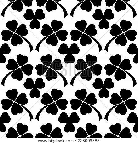 Black And White Clover Leaves Seamless Pattern