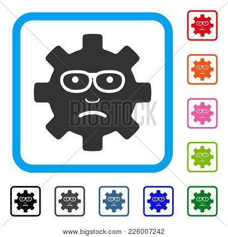 Service Gear Sad Smile Icon. Flat Gray Pictogram Symbol Inside A Blue Rounded Rectangle. Black, Gray