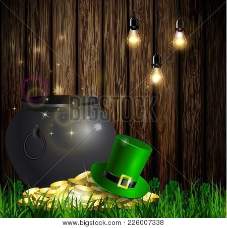 St. Patrick S Day Symbol Green Pot With Gold Coins And Leprechaun Hat On Wooden Wall With Hanging Li