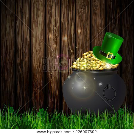 St. Patrick S Day Symbol Green Pot Full Of Gold Coins On Wooden Wall With Leprechaun Hats Vector Ill