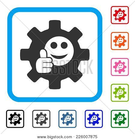 Service Gear Ok Smile Icon. Flat Gray Pictogram Symbol Inside A Blue Rounded Rectangle. Black, Gray,
