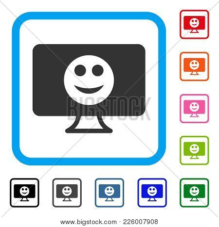 Display Smile Icon. Flat Grey Iconic Symbol Inside A Blue Rounded Squared Frame. Black, Gray, Green,