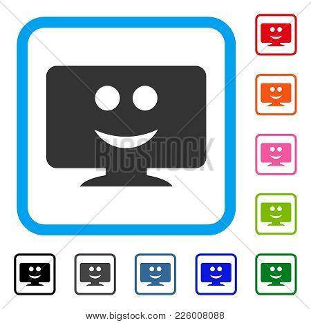 Display Smile Icon. Flat Gray Pictogram Symbol In A Blue Rounded Rectangle. Black, Gray, Green, Blue