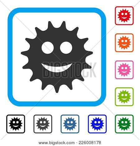 Cog Smile Icon. Flat Grey Iconic Symbol In A Blue Rounded Square. Black, Gray, Green, Blue, Red, Ora