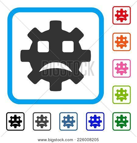 Sad Service Gear Smiley Icon. Flat Gray Pictogram Symbol In A Blue Rounded Squared Frame. Black, Gra