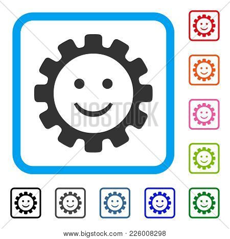 Gear Smile Smiley Icon. Flat Grey Pictogram Symbol Inside A Blue Rounded Square. Black, Gray, Green,