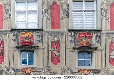 Lindau, Germany - October 28, 2017: Facade Of The Old City Hall In Lindau, Germany, Bodensee, Deutsc