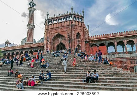 Delhi, India - Julay 29, 2017: Main Gate Of Jama Masjid, The Largest Mosque Of Old Delhi In India.