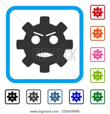 Gear Angry Smiley Icon. Flat Grey Pictogram Symbol In A Blue Rounded Square. Black, Gray, Green, Blu