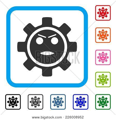 Gear Angry Smiley Icon. Flat Gray Iconic Symbol Inside A Blue Rounded Squared Frame. Black, Gray, Gr