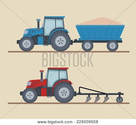 Two Farm Tractors Isolated On Beige Background. Heavy Agricultural Machinery For Field Work. Flat St