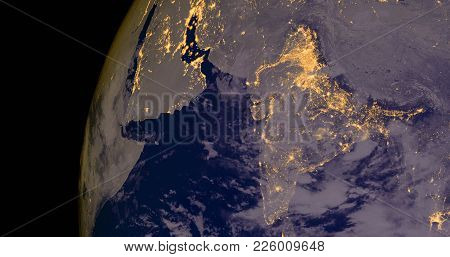 India And Middle East Lights During Night As It Looks Like From Space. Elements Of This Image Are Fu