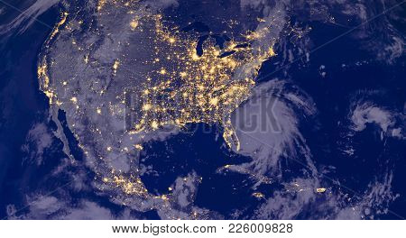 North American Cities Lights During Night As It Looks Like From Space, With North America. Elements