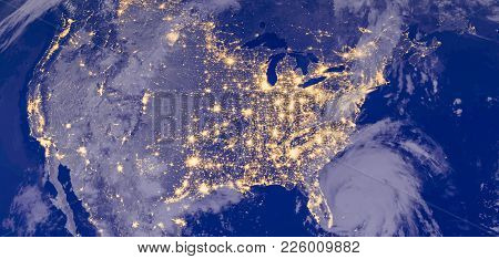 Usa Cities Lights During Night As It Looks Like From Space, With North America. Elements Of This Ima
