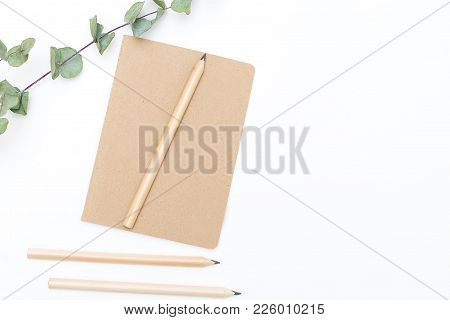 Diary For Entries On A White Background. Minimalism Flat Lay